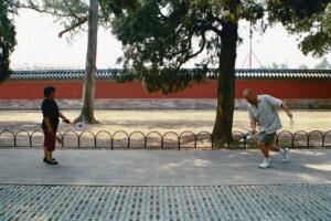 Zack playing paddle game in Temple of Heaven Park